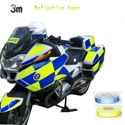 Picture of 1m Safety Mark Reflective Tape Stickers Car Styling Self Adhesive Warning Tape Automobiles Motorcycle Reflective Film 4color